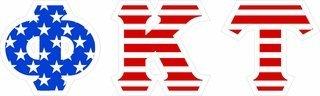 "Phi Kappa Tau Giant 4"" American Flag Greek Letter Sticker"