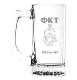 Phi Kappa Tau Glass Engraved 25 Ounce Mug