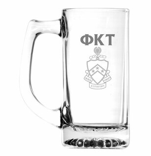 Phi Kappa Tau Glass Engraved 25 Ounce Mug