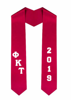 Phi Kappa Tau Greek Diagonal Lettered Graduation Sash Stole With Year