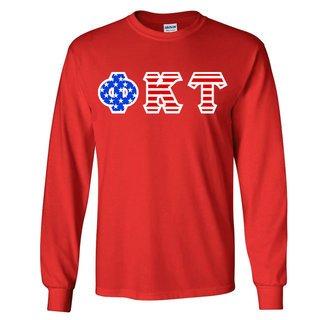 Phi Kappa Tau Greek Letter American Flag long sleeve tee