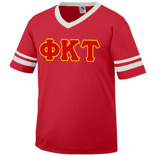DISCOUNT-Phi Kappa Tau Jersey With Greek Applique Letters