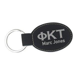 Phi Kappa Tau Leatherette Oval Keychain