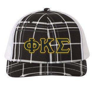 Phi Kappa Tau Plaid Snapback Trucker Hat