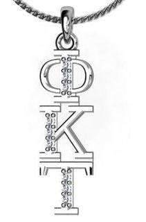 Phi Kappa Tau Sweet Heart Vertical Silver Lavalier