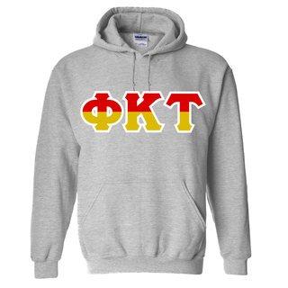 Phi Kappa Tau Two Tone Greek Lettered Hooded Sweatshirt