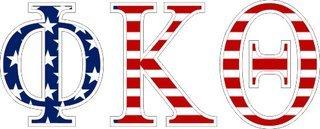 "Phi Kappa Theta American Flag Greek Letter Sticker - 2.5"" Tall"