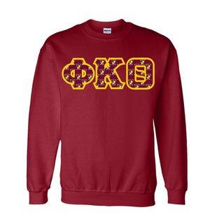 Phi Kappa Theta Fraternity Crest - Shield Twill Letter Crewneck Sweatshirt