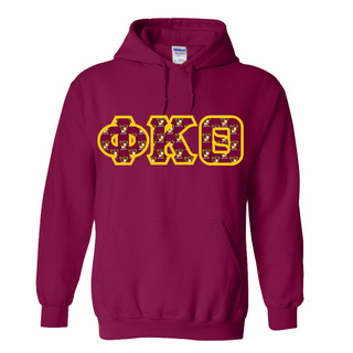 Phi Kappa Theta Fraternity Crest - Shield Twill Letter Hooded Sweatshirt