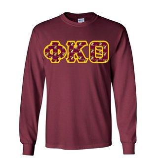 Phi Kappa Theta Fraternity Crest - Shield Twill Letter Longsleeve Tee