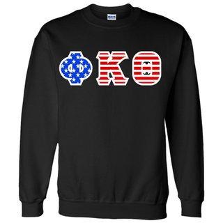 Phi Kappa Theta Greek Letter American Flag Crewneck