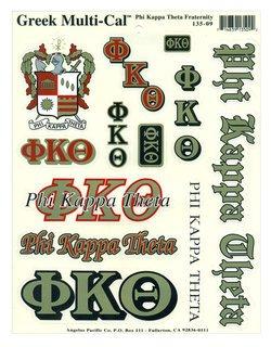 Phi Kappa Theta Multi Greek Decal Sticker Sheet