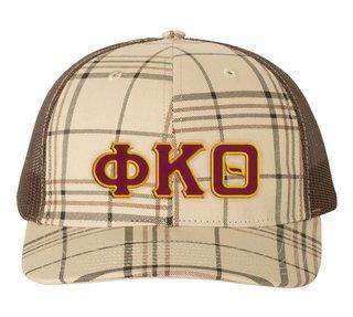 Phi Kappa Theta Plaid Snapback Trucker Hat - CLOSEOUT