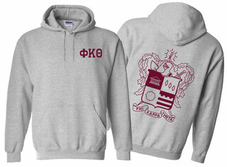 Phi Kappa Theta World Famous Crest - Shield Printed Hooded Sweatshirt- $35!