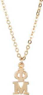Phi Mu 22 k Yellow Gold Plated Lavaliere Necklace - ON SALE!