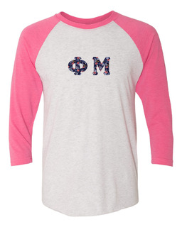 Phi Mu Unisex Tri-Blend Three-Quarter Sleeve Baseball Raglan Tee