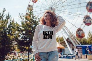 Phi Mu Bodoni Crewneck Sweatshirt