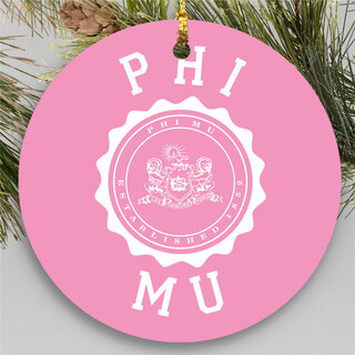 Phi Mu Round Christmas Shield Ornament
