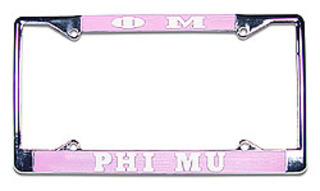 Phi Mu Chrome License Plate Frame