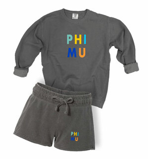 Phi Mu Comfort Colors Crew and Short Set