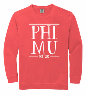 Phi Mu Comfort Colors Custom Crewneck Sweatshirt
