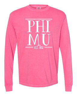 Phi Mu Comfort Colors Custom Long Sleeve T-Shirt
