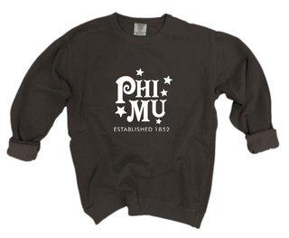 Phi Mu Comfort Colors Old School Custom Crew