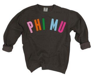 Phi Mu Comfort Colors Rainbow Arch Crew
