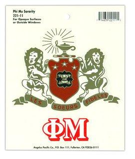 Phi Mu Crest - Shield Decals