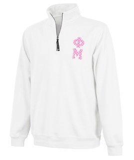 Phi Mu Crosswind Quarter Zip Twill Lettered Sweatshirt