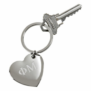 Phi Mu Cupid Heart Shaped Key Ring