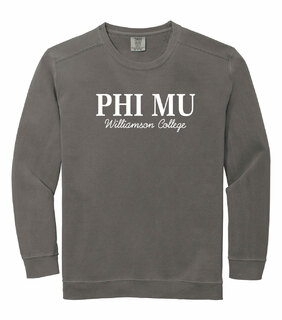 Phi Mu Script Comfort Colors Greek Crewneck Sweatshirt