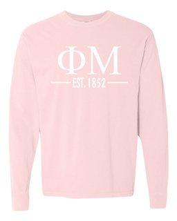 Phi Mu Custom Greek Lettered Long Sleeve T-Shirt - Comfort Colors