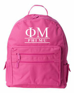 Phi Mu Custom Text Backpack