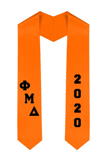 Phi Mu Delta Greek Diagonal Lettered Graduation Sash Stole With Year