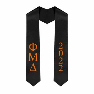 Phi Mu Delta Greek Lettered Graduation Sash Stole With Year - Best Value