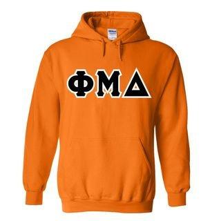 Phi Mu Delta Sewn Lettered Hooded Sweatshirts