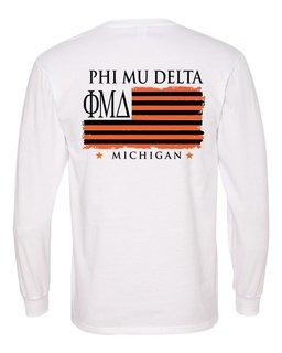 Phi Mu Delta Stripes Long Sleeve T-shirt - Comfort Colors
