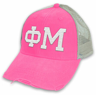 Phi Mu Distressed Trucker Hat