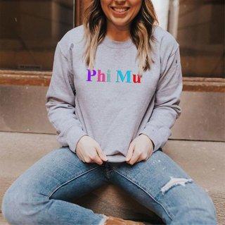 Phi Mu Embroidered Rainbow Nickname Crewneck