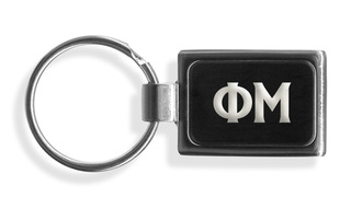 Phi Mu Engraved Chrome Keychains