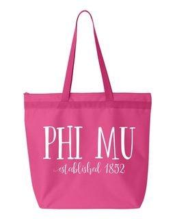 Phi Mu Established Tote bag
