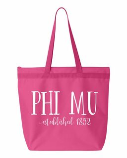 Phi Mu Established Tote bag