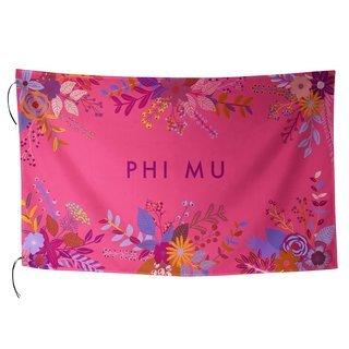 Phi Mu Floral Flag
