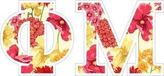 """Phi Mu Floral Greek Letter Sticker - 2.5"""" Tall"""