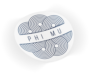 Phi Mu Geo Scroll Sticker Sticker