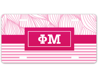 Phi Mu Geometric License Plate