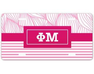 Phi Mu Geometric License Plate