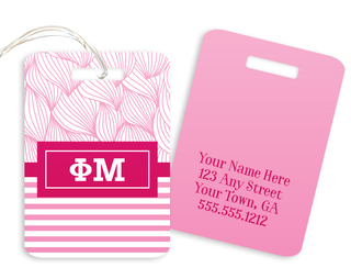 Phi Mu Geometric Luggage Tag
