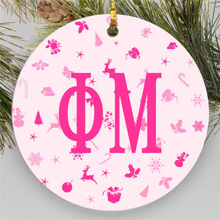 Phi Mu Round Christmas Icon Ornaments